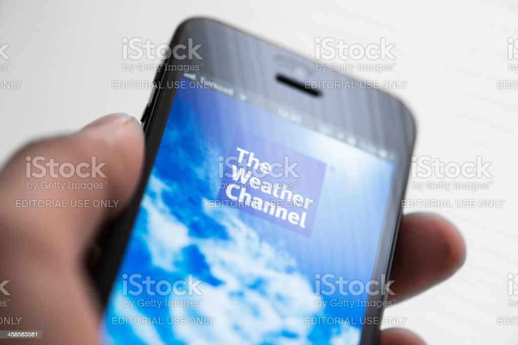 The Weather Channel app on Apple iPhone 5 royalty-free stock photo