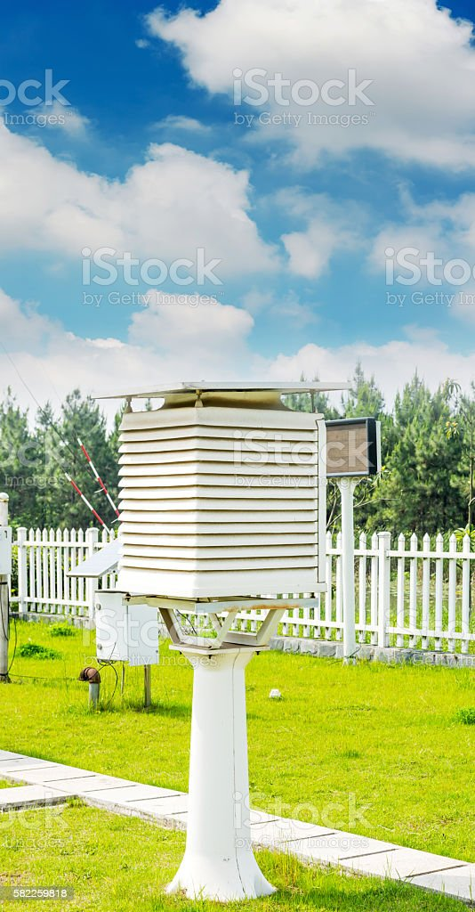 The weather station in the forest stock photo