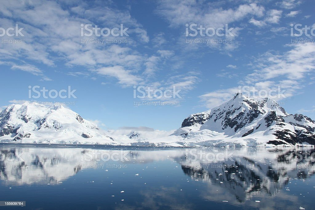 The Weddel sea in Antarctica, beautiful snow-capped mountain top stock photo