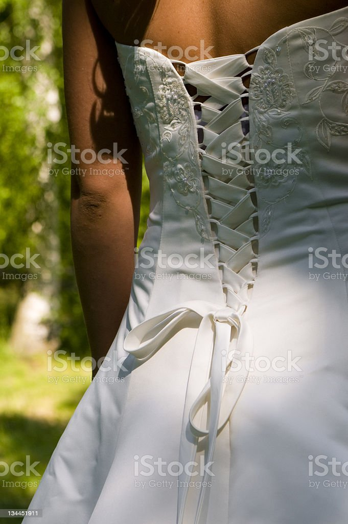 The wedding dress, from behind royalty-free stock photo