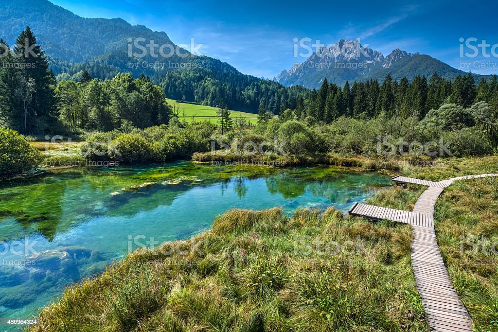 The well of river Sava in Julian Alps stock photo