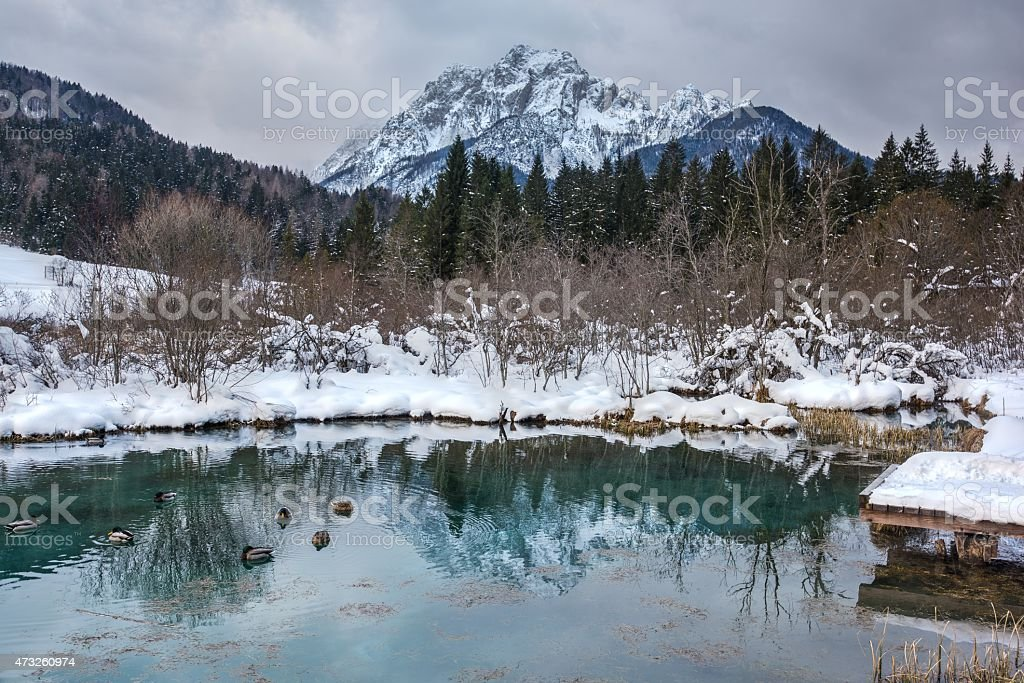 The well on river Sava in Julian Alps stock photo