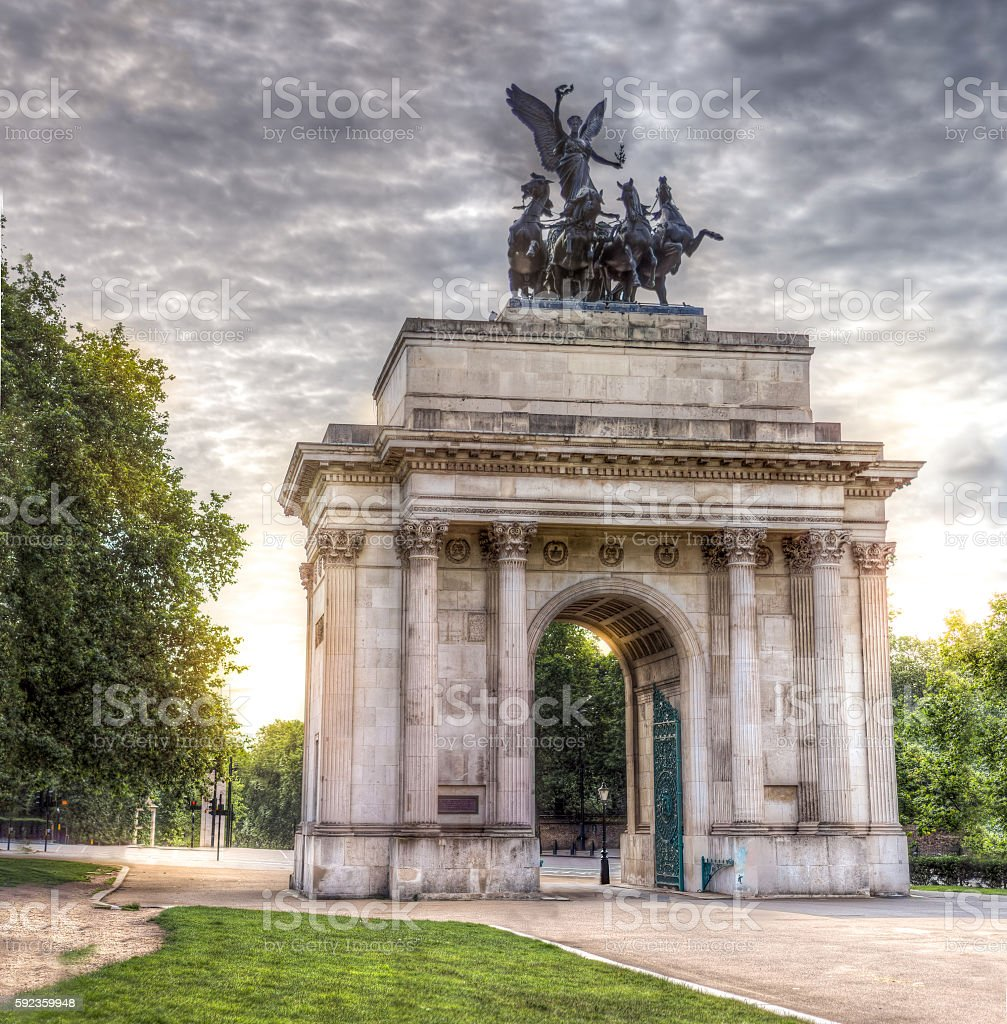 The Wellington Arch London stock photo