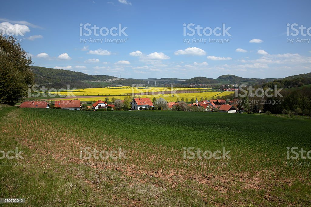 The Werra Valley in Germany stock photo