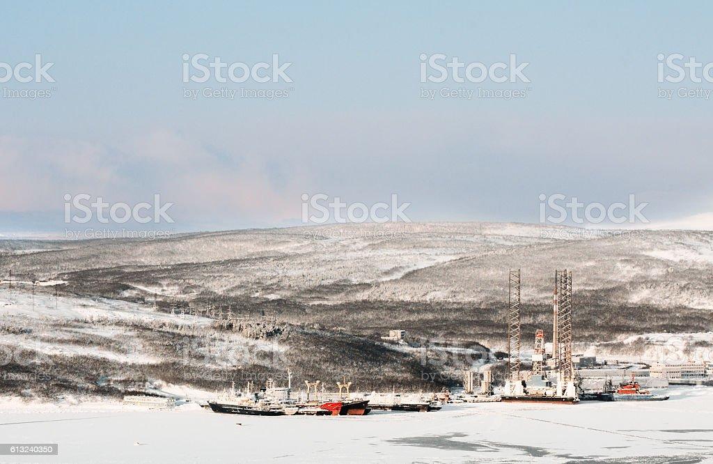The Western coast of the Kola Bay stock photo