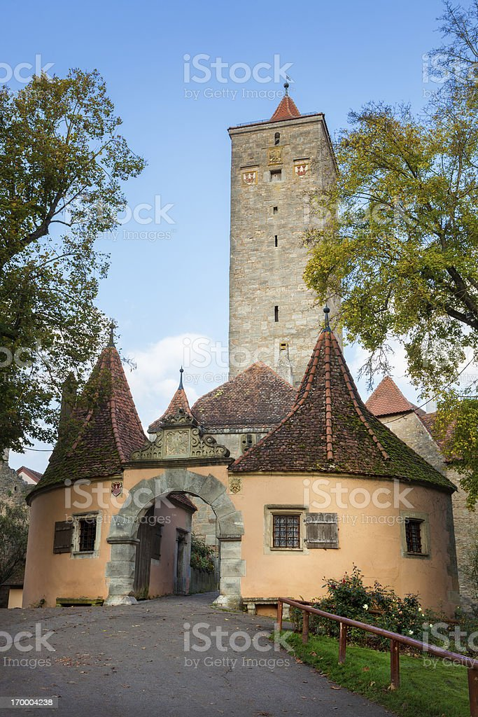 The western town gate in Rothenburg ob der Tauber, Germany stock photo