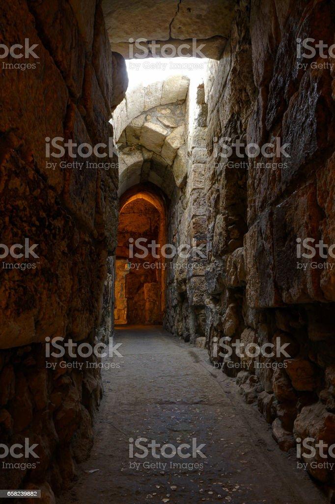 The Western Wall (Kotel) Tunnels, Old City of Jerusalem, Israel stock photo