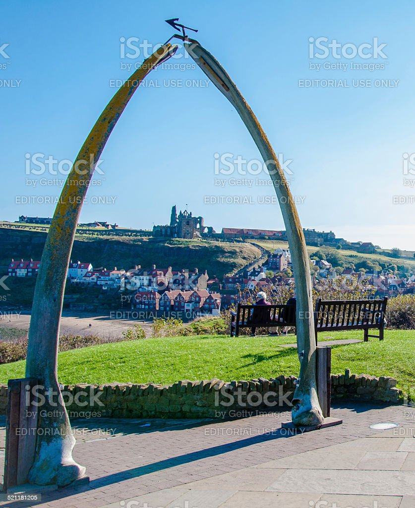 The whale bones, Whitby town symbol with abbey in background stock photo