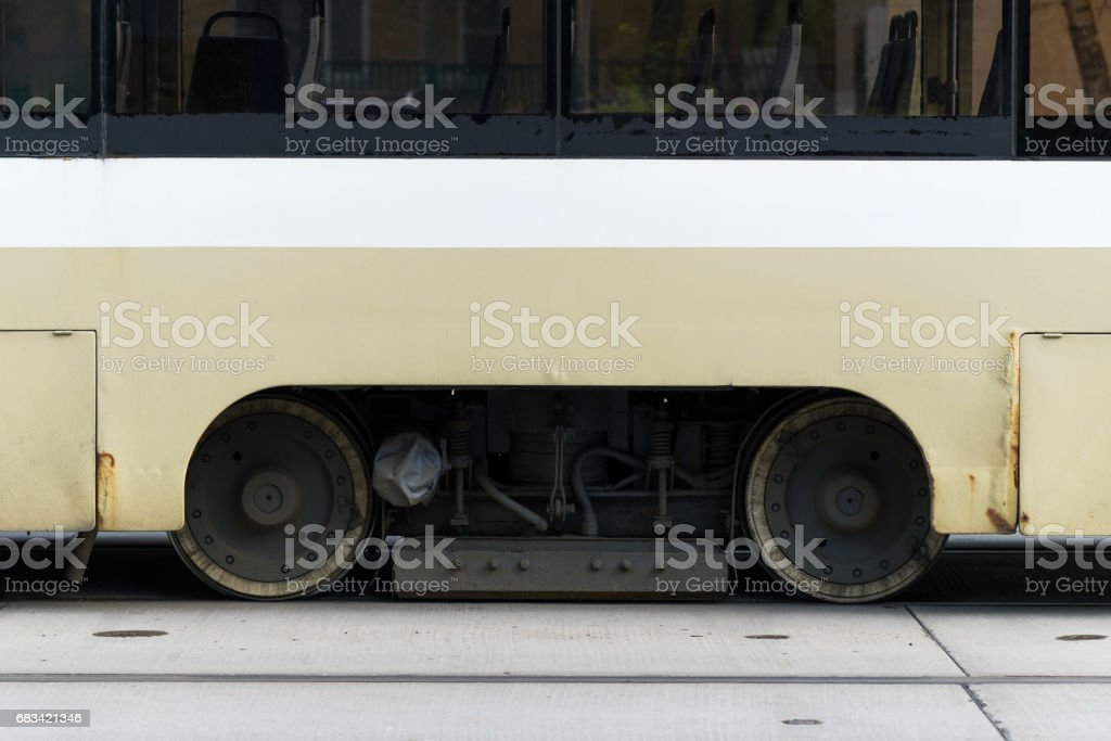 the wheels of the tram close up stock photo