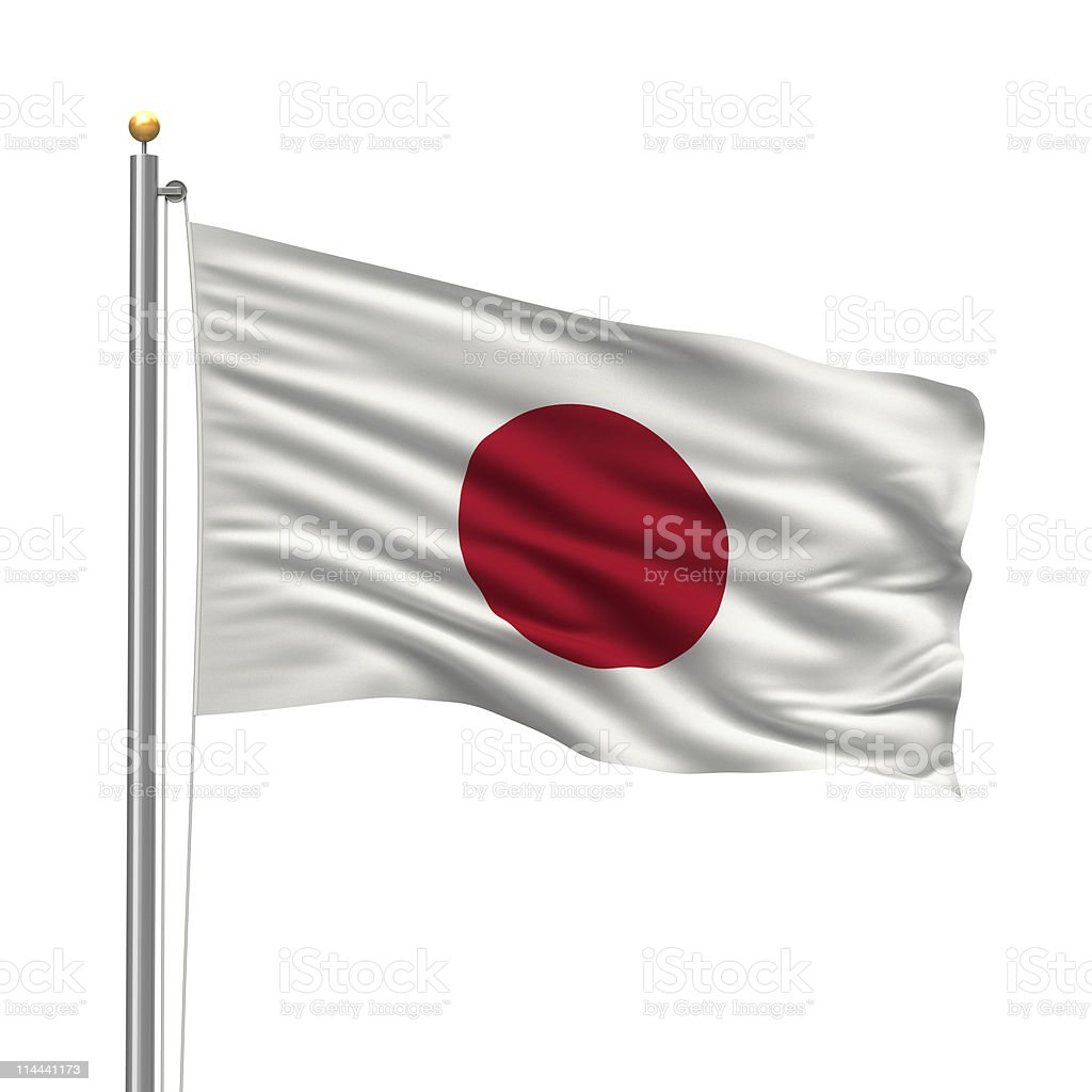 The white and red flag of Japan flying high on a pole stock photo