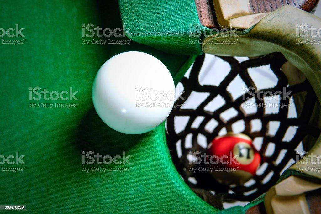 The white ball stopped near the pocket stock photo