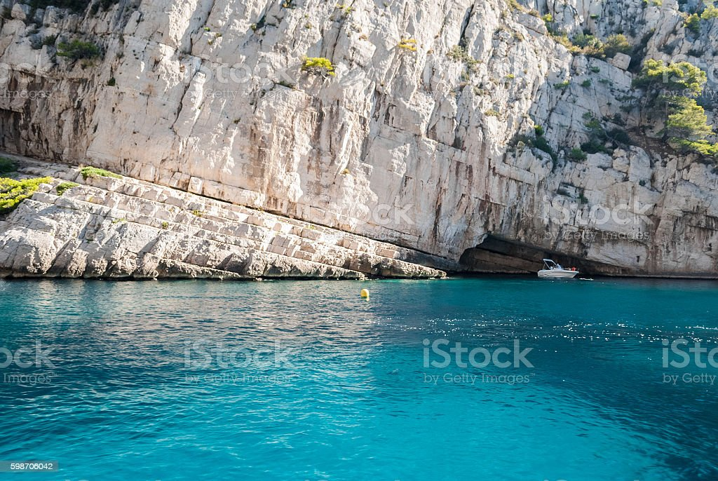 The white cliff of the Calanques near Cassis (Provence, France) stock photo