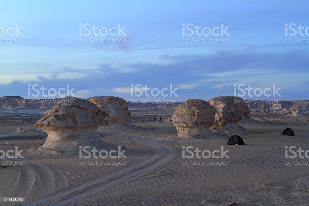 The White Desert at Farafra in the Sahara of Egypt stock photo