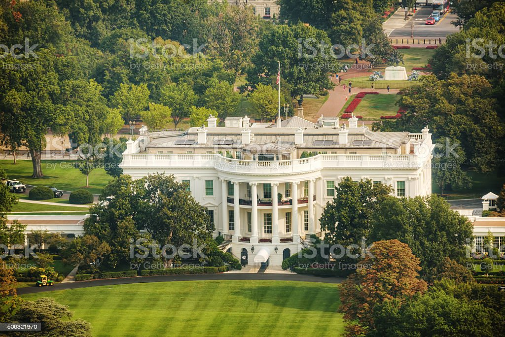 The White Hiuse aerial view in Washington, DC stock photo