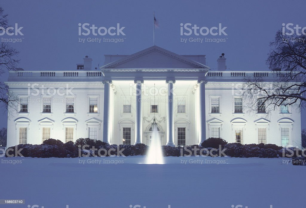 The White House after a heavy snowfall. stock photo