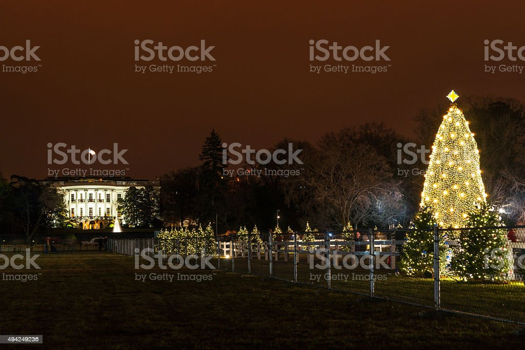 THe White house and the National Christmas Tree stock photo