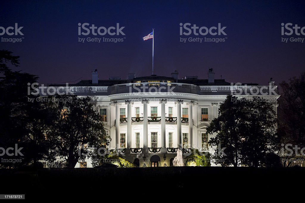 The White House at Night royalty-free stock photo