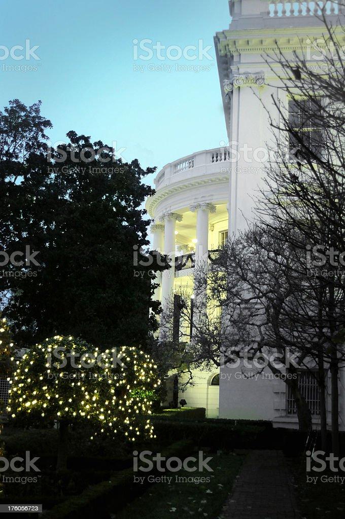 The White House Christmas time stock photo