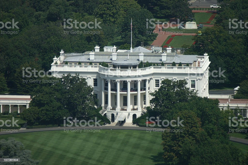 The White House in Washington D.C. aerial view stock photo