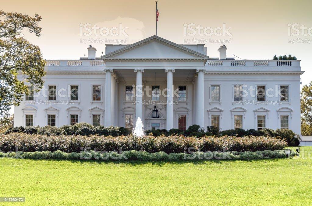 The White House in Washington DC; northern facade stock photo