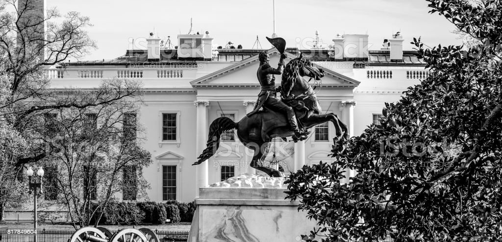The White House in Washington DC - view from Lafayette Square - stock photo