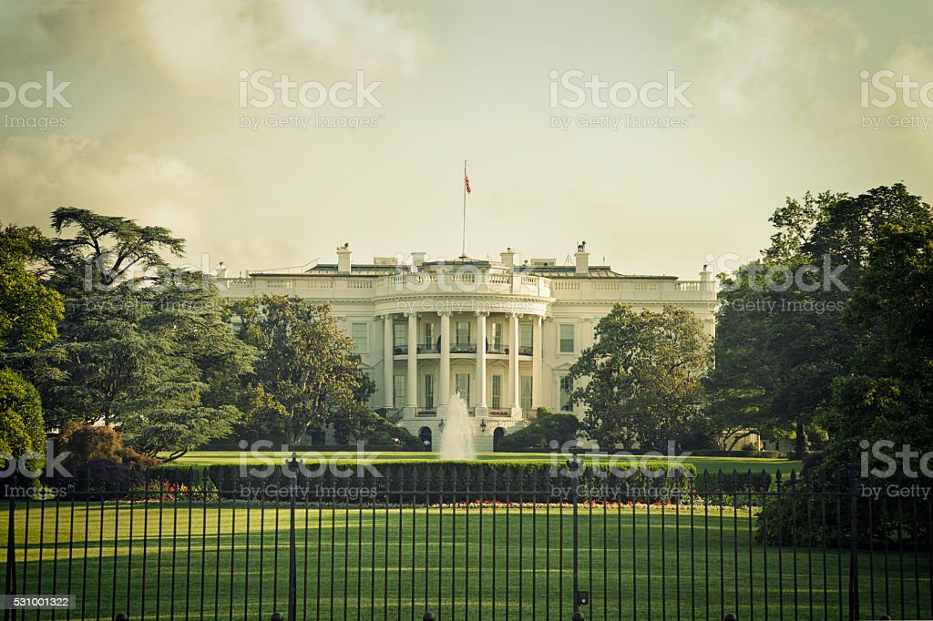 The White House in Washington DC with vintage processing stock photo