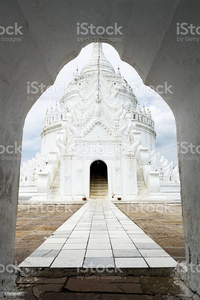 The white Hsinbyume Pagoda near Mingun, Myanmar royalty-free stock photo