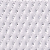 The white leather texture of the skin quilted sofa