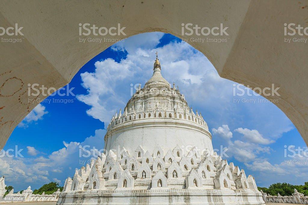 The white pagoda of Hsinbyume stock photo
