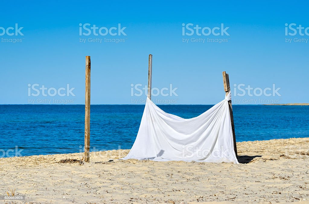 The white sheet on a background of blue sea stock photo
