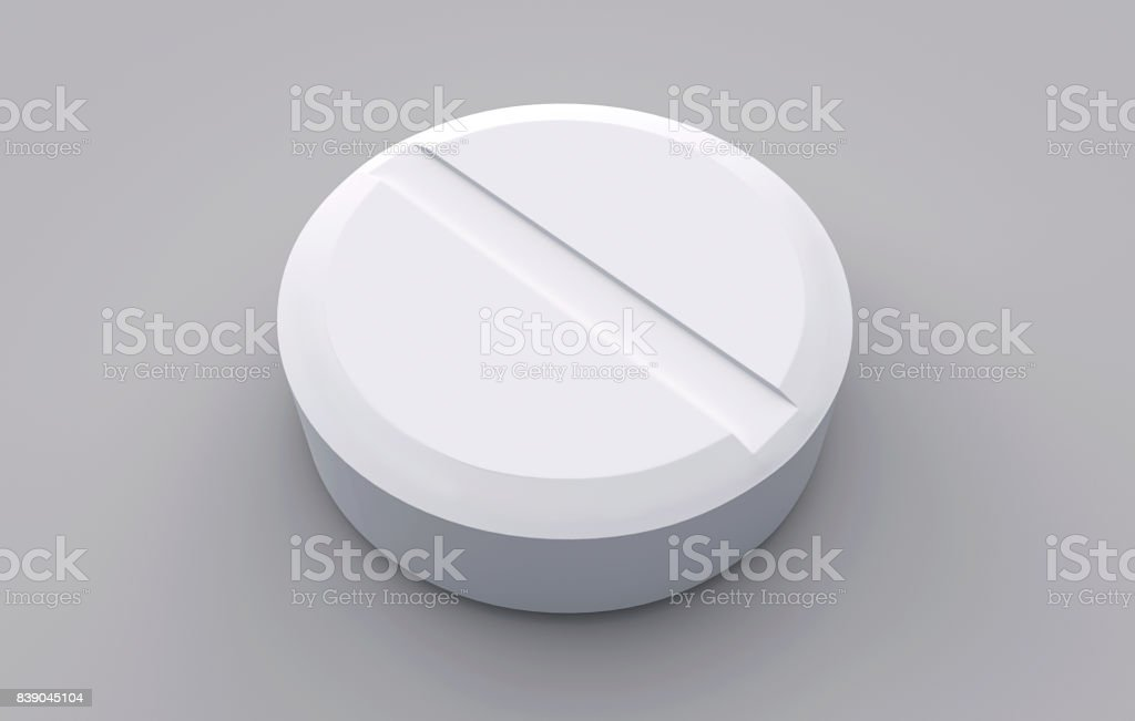 The white tablet on a grey background stock photo