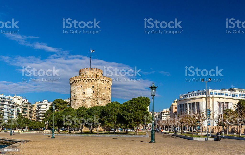 The White Tower and the National Theatre of Northern Greece stock photo