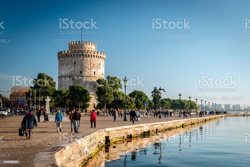 The white tower, Thessaloniki city, Greece stock photo