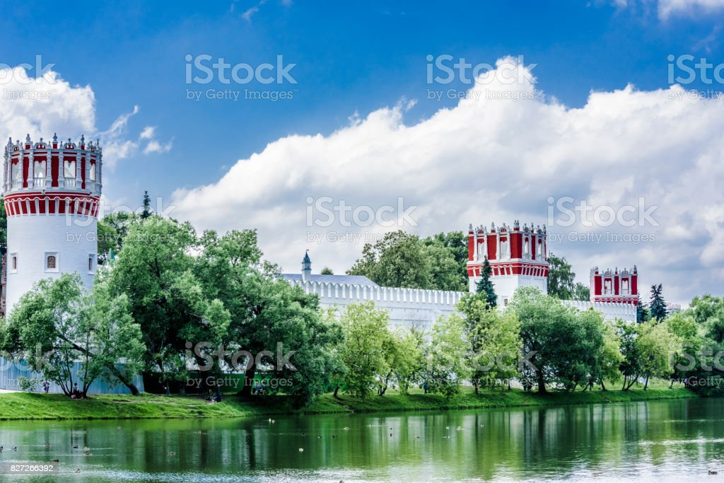 The white walls of the monastery stock photo