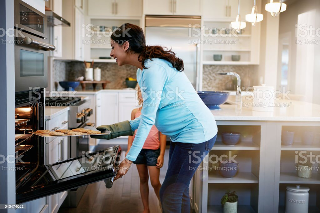 The whole kitchen smells of delicious cookies now stock photo