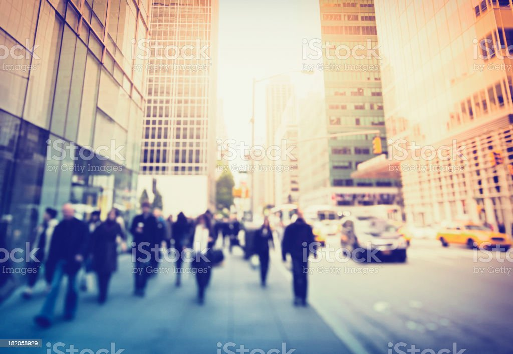 The wide sidewalks on 5th Avenue in New York City stock photo