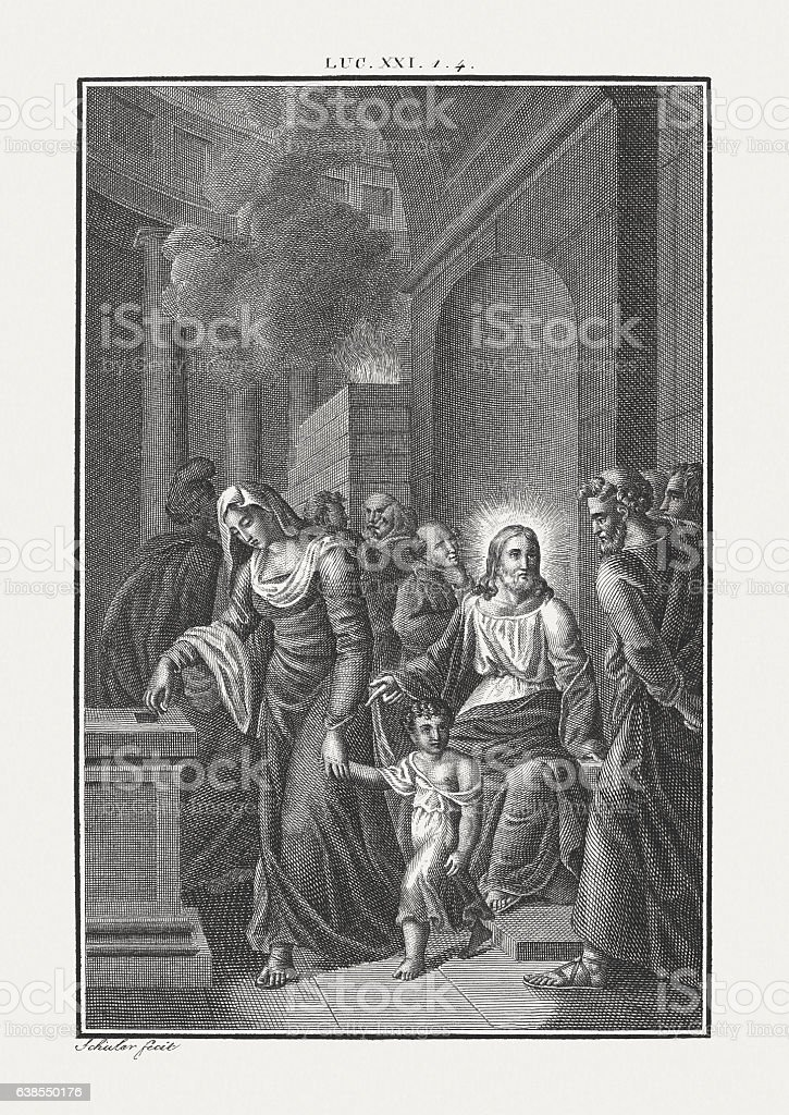 The Widow's Offering (Luke 21), copper engraving, published c. 1850 stock photo