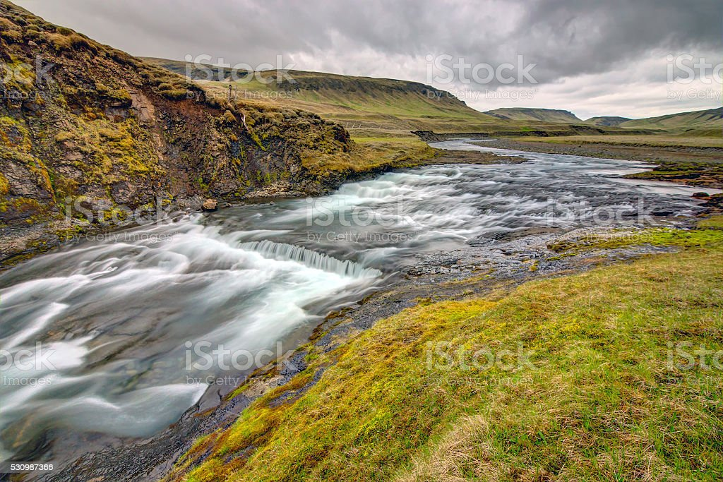The wild Fjadra river in Iceland stock photo