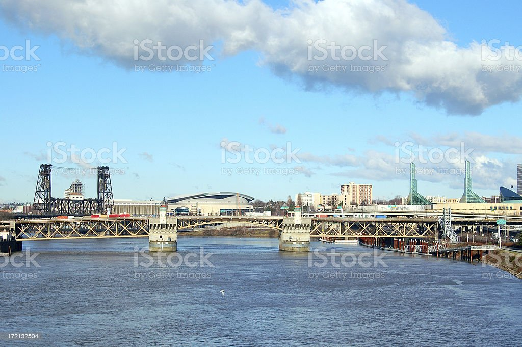 The Willamette River and Rose Garden Arena stock photo