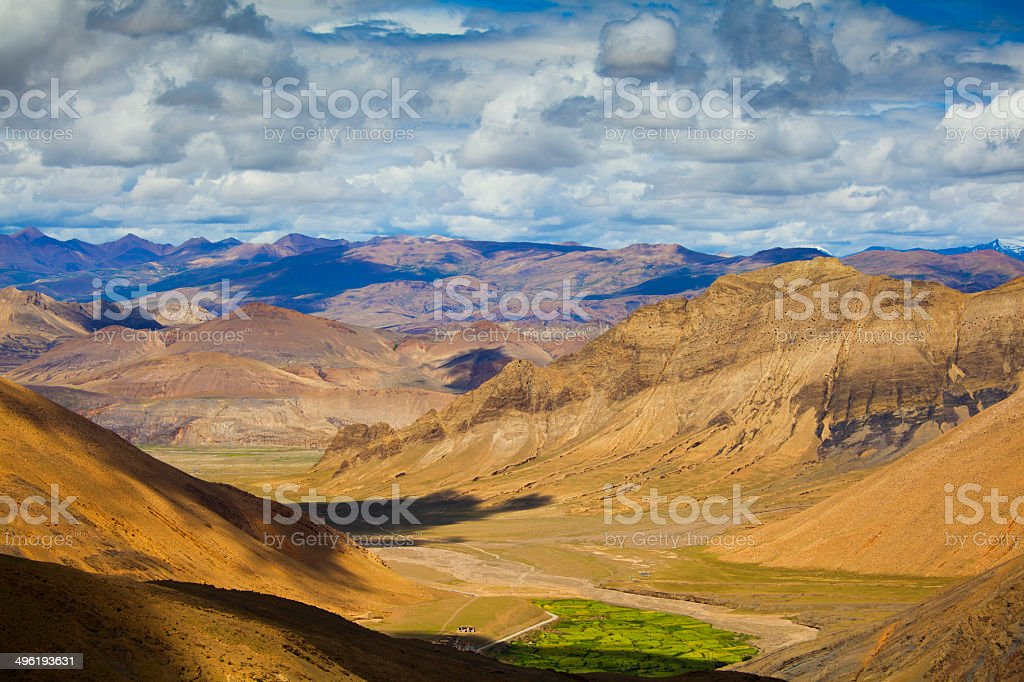 The winding mountain road to Everest base camp royalty-free stock photo
