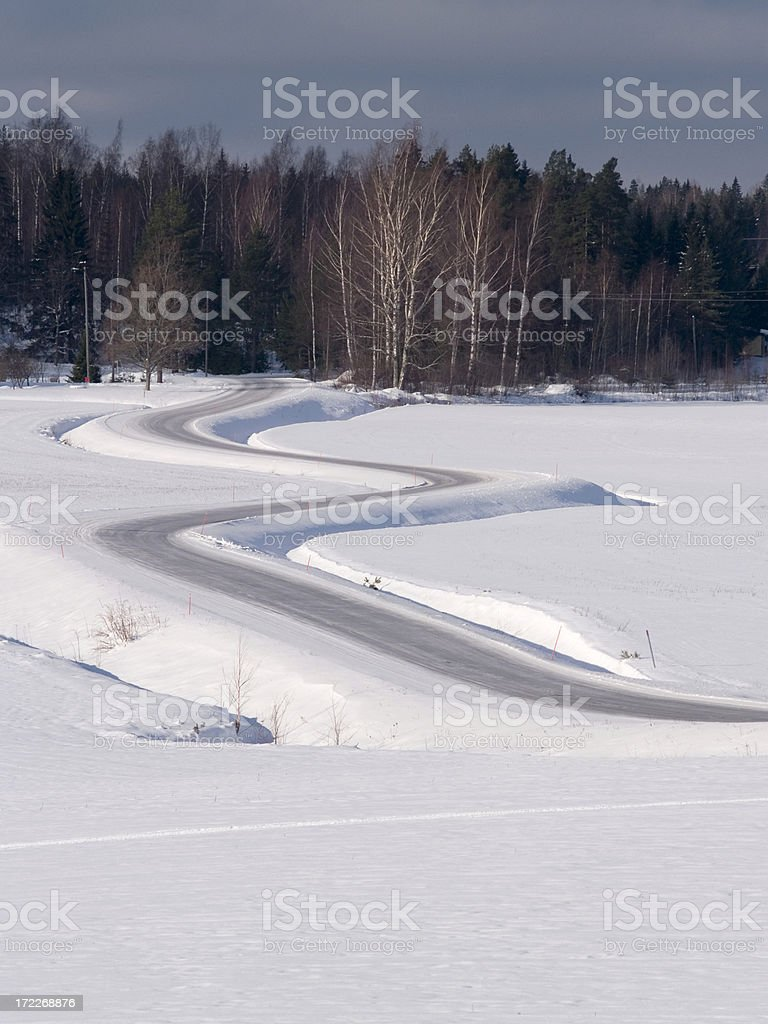 The Winding Road in winter royalty-free stock photo