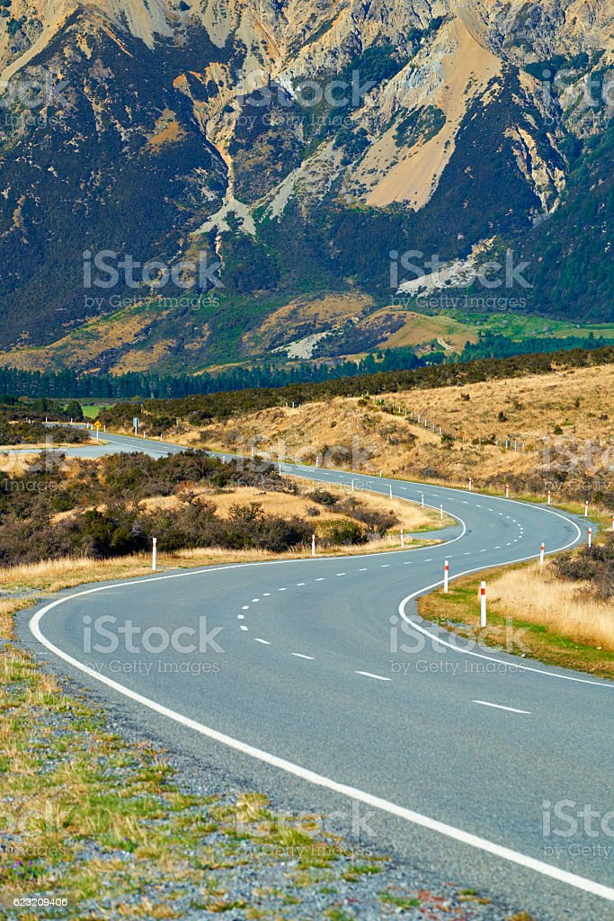 The Winding Roads Of Arthur's Pass In New Zealand stock photo