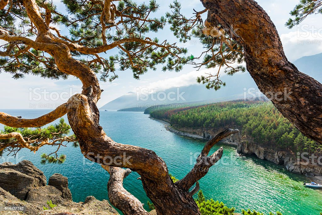 The winding shore in the horizon stock photo