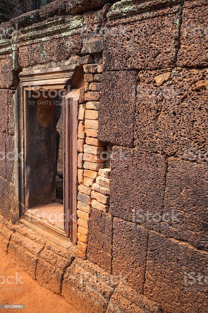 The Window to the Past. (Banteay Srei Temple) stock photo
