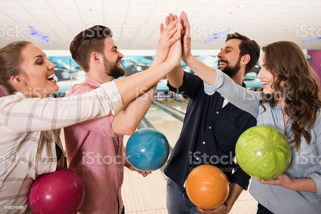 The winning team of bowling game stock photo
