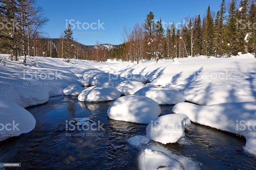 The winter creek  panorama stock photo