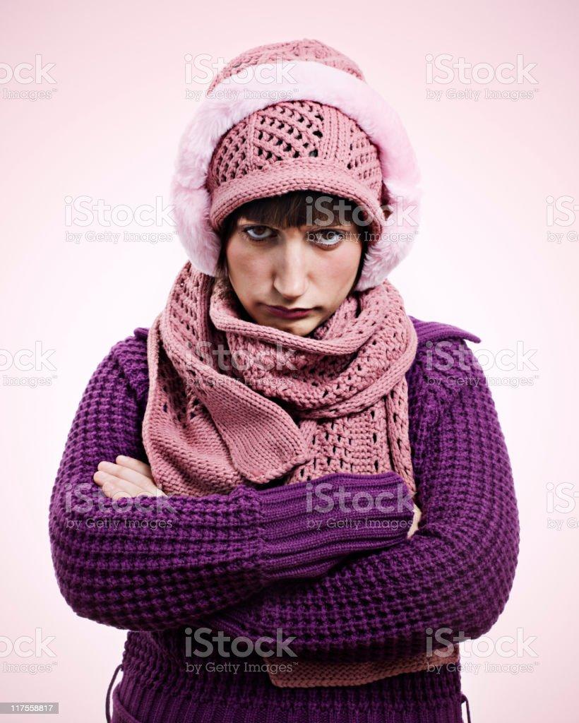 The winter grumpy royalty-free stock photo