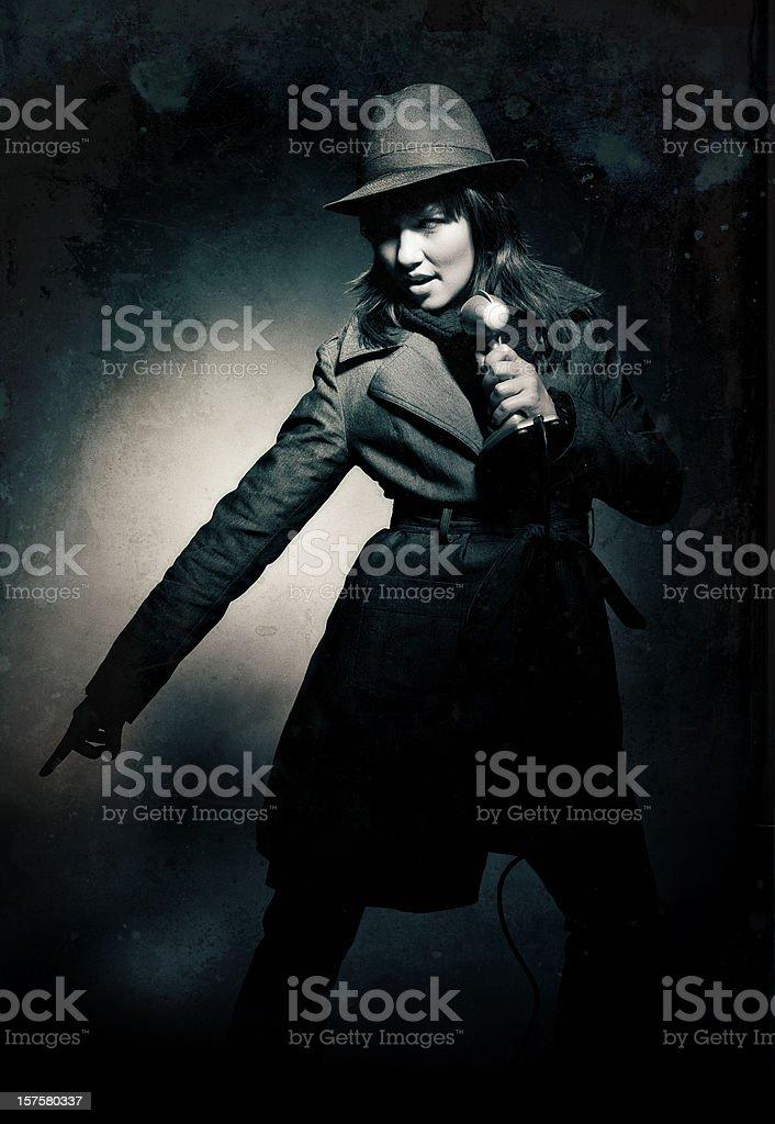 the winter jazz singer stock photo