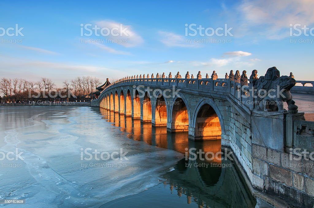 The winter of the the Summer Palace seventeen Kong Qiao stock photo