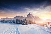 the winter road. Dramatic scene. Carpathian, Ukraine, Europe.